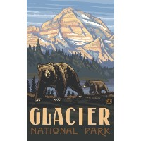 High Quality 11 x 17 Poster Glacier National Park Bear and Cub by Paul A. Lanquist