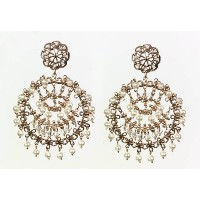 Pearl Gem' Collection 24K Rose Gold Plated Round Shaped Earrings by Amaro Jewelry Studio with...
