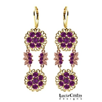 24K Yellow and Pink Gold over .925 Sterling Silver Dangle Earrings by Lucia Costin with Filigree...