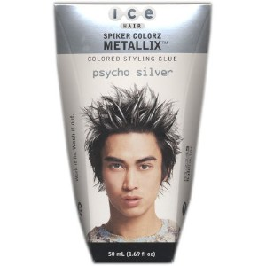 Ice Hair - Spiker Colorz Metallix Colored Styling Glue Psycho Silver 1.69 FL OZ by Ice Hair