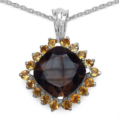 iNatemy .925 Sterling Silver Pendant with Smoky Quartz and Citrine