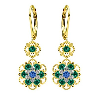 Lucia Costin Silver, Blue, Green Crystal Earrings with Delicate Flowers