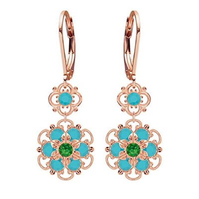 Lucia Costin Silver, Turquoise, Green Swarovski Crystal Earrings, Cute Garnished