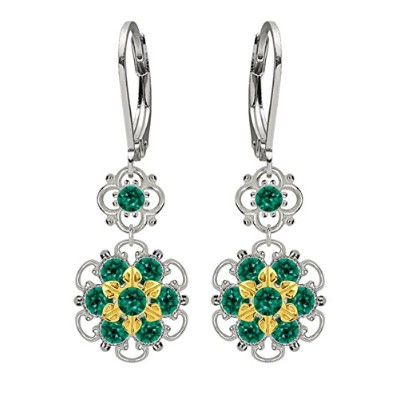 Lucia Costin Silver, Green Swarovski Crystal Earrings with Twisted Accents