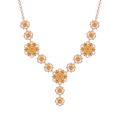 Lucia Costin .925 Silver, Yellow Swarovski Crystal Necklace with Dots