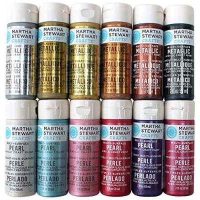 High Quality Multi-Surface Acrylic Craft Paint Set (2-Ounce), PROMOMET/PRL Metallic and Pearl Best...