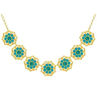 Lucia Costin .925 Silver, Blue, Turquoise Green Crystal Necklace, Splendid