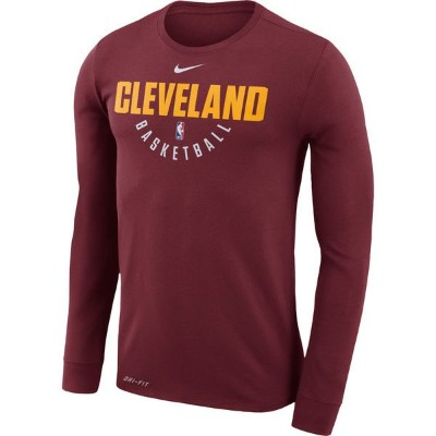 NBA プラクティス ロングスリーブTシャツ キャバリアーズ(ワイン) Nike Cleveland Cavaliers Wine Practice Long Sleeve Performance...