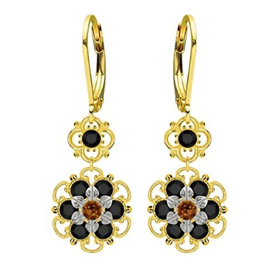 Lucia Costin Silver, Brown, Black Swarovski Crystal Earrings with Flowers
