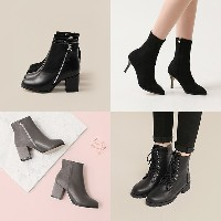 [Daily Shoes] [Self Made] Chic Black Trendy Design Ankle Boots Sox Boots 10 Ticks 1