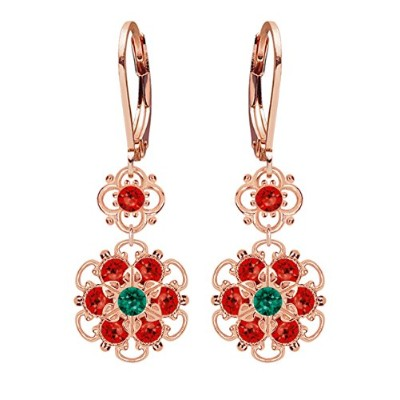 Lucia Costin Silver, Green, Red Swarovski Crystal Earrings with Flowers
