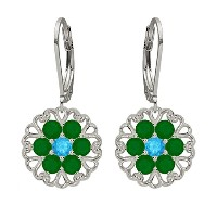 Lucia Costin Silver, Swiss Blue Topaz and Green Agate Earrings