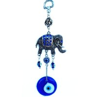 ブルーEvil Eye with an Elephant Hanging Ornament for protection-032