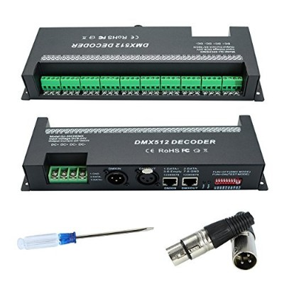 DMX 512 LED Decoder Controller for RGBW RGB Tape Strip Light Dimmer Driver DC9-24V 60A (30 Channel)...