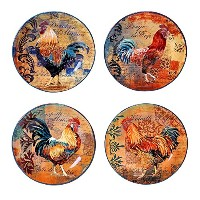 High Quality Rustic Rooster Salad/Dessert Plate, 8.75-Inch, Multicolor, Set of 4