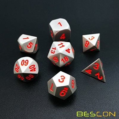 Bescon 7pcs Set Solid Metal Polyhedral D&D Dice Set Matt Silver with Orange Numbers, Metal RPG Role...
