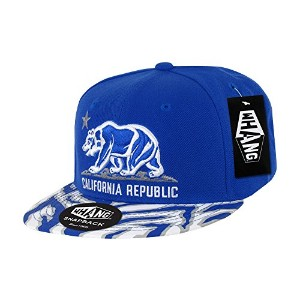 Decky W30-RYL Ziger California Bear Snapback Cap, Royal