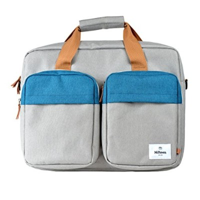 【Nifteen】Stockholm 15.6″Laptop Carrier Bag コンピュータバッグ ラップトップ ショルダーバッグ 荷物に取付可能 (BLUE)