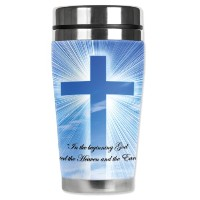 Mugzie Heaven and Earth Travel Mug with Insulatedウェットスーツカバー、16オンス、ブラック