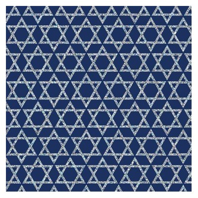 Silver Stars of David on Blue Gift Wrapping Paper - 24 x 15' Roll Wrap Hanukkah by Premium Gift Wrap