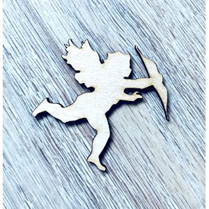 Wooden Angel with Bow Decor Ornament Shapes Cut Gift JuDo Ideas Decoration Embellishments (30cm, 25)