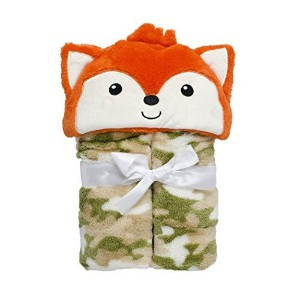 Baby Grear Baby Boys Velboa Plush Hooded Animal Buddy Character Full Expanding Blanket With Gift Wrap Bow, Orange Fox by Baby Gear