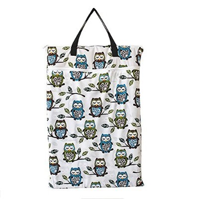 Large Hanging Wet/dry Cloth Diaper Pail Bag for Reusable Diapers or Laundry (Owl&tree) by Hibaby