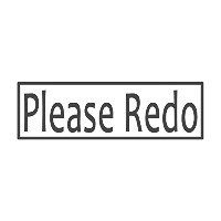 Please Redo With Border、pre-inked先生ラバースタンプ( # 672704-b、スタイルB Large size (58 x 18mm) グリーン