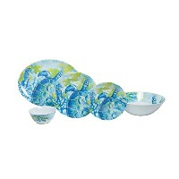 Galleyware Sea Turtle 14-pieceメラミン食器セット、4のためのサービスwith Serving Bowl and Platter