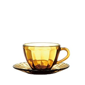 DULTON(ダルトン) グラス カップ アンド ソーサー GLASS CUP & SAUCER AMBER S81951BR 【まとめ買い6セット】
