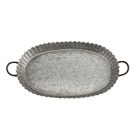 High Quality Scalloped Galvanized Tin Decorative Serving Tray