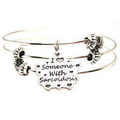 """ChubbyChicoCharms I Love Someone With Sarcoidosis Expandable Wire Tripleスタイルバングルブレスレット、2.5"""""""