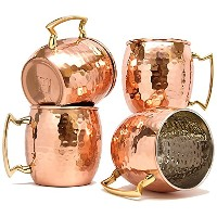 Moscow Mule銅マグカップのセット4by Coppertisan–ハンドメイドの100% Pure Copper–Best Moscow Mule Mugs with...