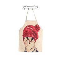 New Arrival Linen Cute Cat Two Patterns Parent-Child Aprons Funny Kitchen Clean Tool for Cooking...