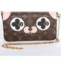 LOUIS VUITTON ルイヴィトン 限定M67248 ショルダーバッグ 財布 ポーチ カードケース クラッチ ポシェット・フェリーチェ 犬ドッグ モノグラム ピンク【新品・未使用・正規品】...