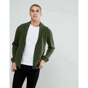 エイソス メンズ カーディガン アウター ASOS Lambswool Shawl Cardigan In Lime Green Green