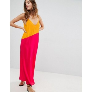 エイソス レディース ワンピース トップス ASOS Beach Colour Block Asymmetric Maxi Orange/hot pink