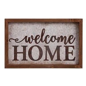 Welcome Homeブラウン17.75X 11.25インチFaux Tin & Pine Wood Wall Plaque Sign