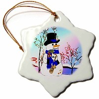 3dローズSmudgeart All Thingsクリスマス–スノーマンinスポットライトwith Saxophone–Ornaments 3 inch Snowflake...