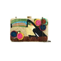 Serpui embroidered straw clutch - ヌード&ナチュラル