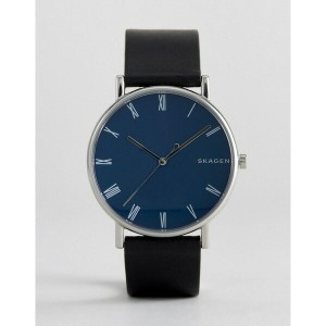 スカーゲン メンズ 腕時計 アクセサリー Skagen SKW6434 Signatur Slim Leather Watch In Black Black