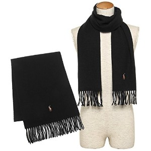 ポロラルフローレン マフラー POLO RALPH LAUREN PC0001 001 SIGNATURE ITALIAN VIRGIN WOOL SCARF 約W30cm×H183cm ウール...