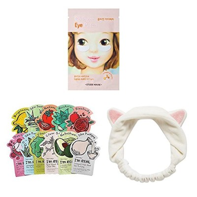 Etude House Collagen Eye Patch (10 sheets)+ My Beauty Tools Cute Hair Band + TONYMOLY I'm real mask...
