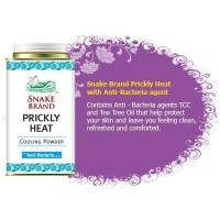 Prickly Heat Powder with Anti-bacteria Agent Snake Brand (150 Gram); Cool Talcum for Sport Girl and...
