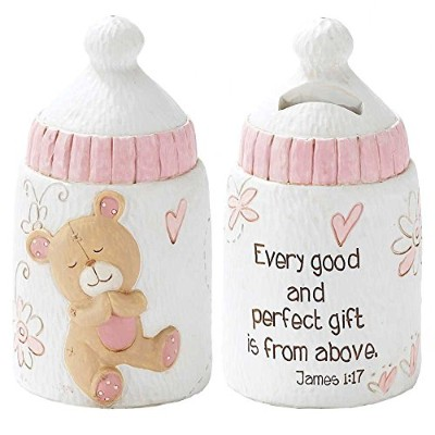 Dicksons Baby Bear Coin Bank for Girl, James 1:17/White by Dicksons
