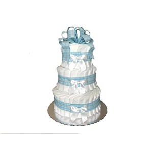 Classic Pastel Baby Shower Diaper Cake (3 Tier, Blue) by Rubber Ducky