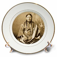 Scenes from the PastヴィンテージStereoviews – Sioux WomanセピアNative American – プレート 6 by 6-Inch cp_77337_1