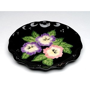 ATD 32202ブラックLuncheon Plates with Floral Design ( Set of 4)