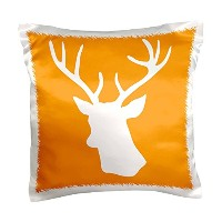 """InspirationzStore鹿デザイン–ホワイトStagヘッドシルエットonオレンジ–国Deer with Antlers–枕ケース 16"""" x 16"""" pc_179701_1"""