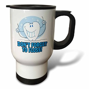 Dooni Designs MoreランダムCartoon Designs–Dont Forget To Floss Cute Cartoon Tooth–旅行マグ 14-Ounce...